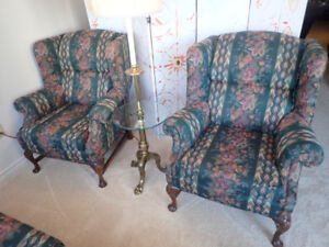 Two Wing-back Chairs & Couch