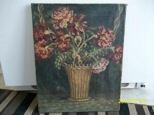 Antiquité : peinture à l'huile, cadre et chevilles de bois