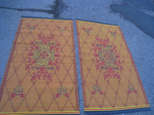 2 OUTDOOR Patio Rugs, plastic, reversible, $50 for both,good con
