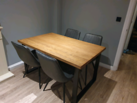 Brand New Solid Oak Industrial Style Dining Table