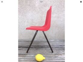 Retro Hille / Robin Day Plastic Chair Child Stackable School Red & Yellow Feet