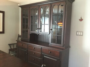 Custom Solid Wood Dining Room Set and Hutch Made by Mennonites