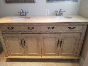 "Like new antique wood and marble top 65"" 2 sink bathroom vanity"