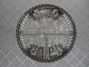 Vintage Indiana Glass Dish with Silver Overlay.