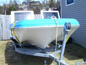 for sale a 17.5 fiber glass boat,motor and a new trailer