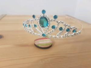Metal Princess Crown with Blue Crystals