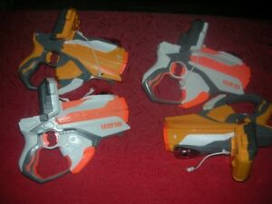 4 Hasbro Nerf Laser Tag Guns  for Use with iPhone / iPod