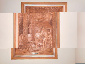 carved wood mural