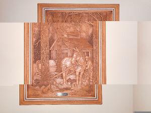 carved wood mural