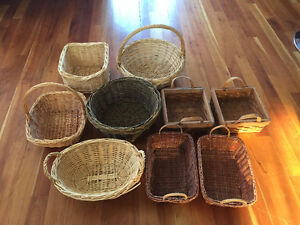 Several wicker baskets of various size