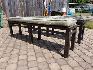 Two custom-fabricated Steel Benches with Upholstered Cushions Belleville Belleville Area image 2