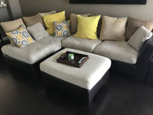 Ashley Furniture Sectional Couch and Ottoman