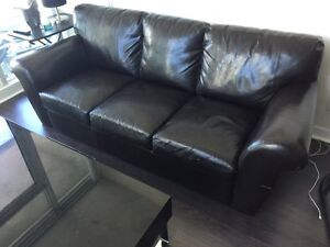 Black Bonded Leather Couch