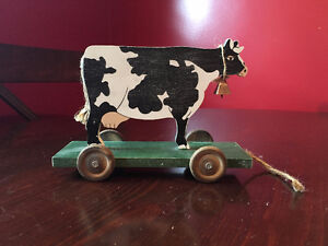 Wooden cow toy decor