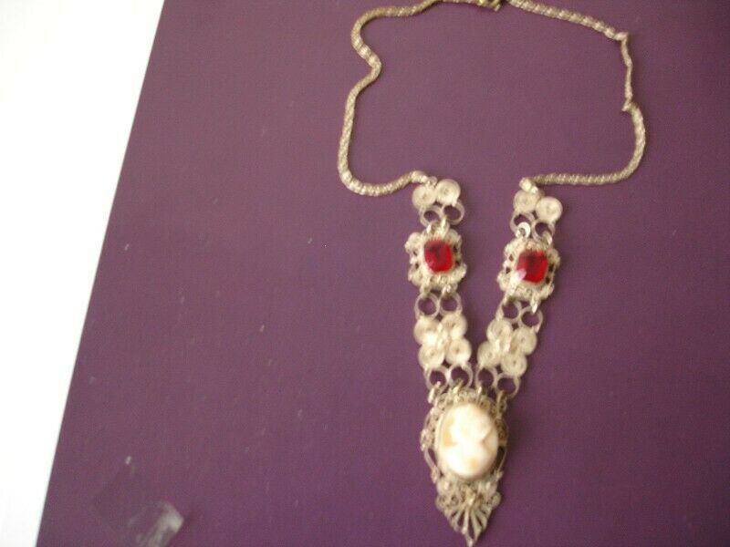 Art Deco Hand Made Silver Filigree Necklace with Hand Carved Shell Cameo