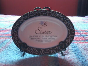 Sisters decorative plate with stand