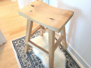 Custom Built Solid Pine Wood Bar Stool