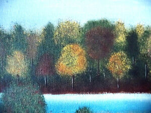 "Original Folk Art Oil Painting ""Autumn Farmland by the River"" Stratford Kitchener Area image 6"