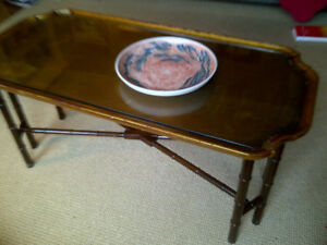Vintage Kittinger Coffee table w/gilded gold leaf & bamboo legs