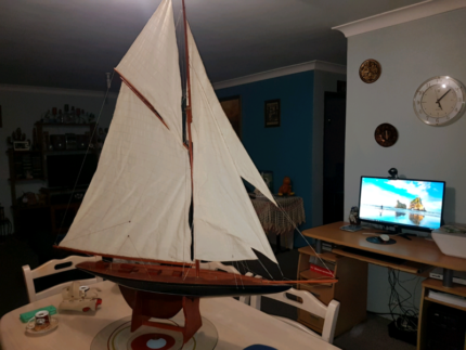 Extra large wooden sailboat replica
