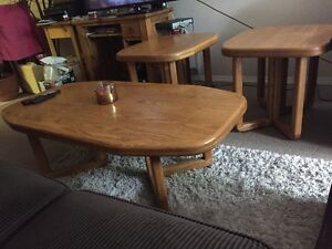 3 piece oak coffee & end table
