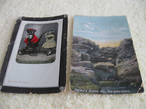 ....TWO PRECIOUS OLD ANTIQUE POST CARDS dated 1910...