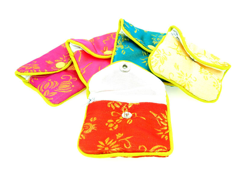 """Silk Jewelry Chinese Pouch Bag, Assorted Colors W/Zipper - 3 1/2"""" x 3"""" 12PCS/PK"""