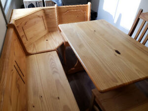 Beautiful solid pine table with bench and chairs