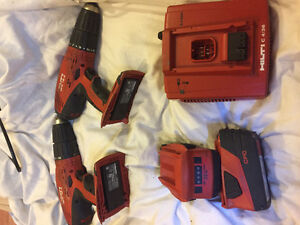 2 18A HILTI cordless hammer drill, 2 batteries & charger