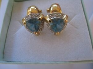 BlueTopaz/diamond earrings 14k: Appraised @ $945.00