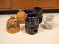 Clay Potpourie Containers and Small Vase