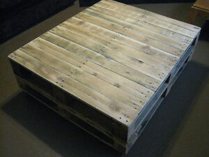 Antiqued Heavy Duty Pallet coffee table  with  caster Wheels! Williams Lake Cariboo Area image 1