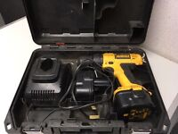 DEWALT DRILL WITH 2 BATTERIES, CHARGER & CASE