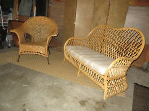 Wicker couch with cushion
