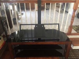 3 Shelf Tempered Glass and Wood TV Stand