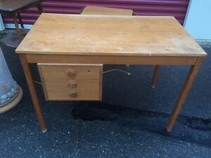 Mid Century Solid Teak Desk With 3 Drawers