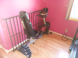 Exercise bike with weights.