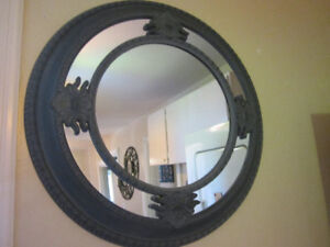 LARGE CHARCOAL GRAY MIRROR-PLASTIC TYPE FRAME-CLEAN-INTACT