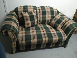 Plaid love seat and chair