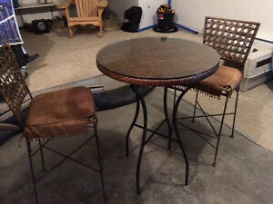High Wicker Cafe Table and Iron Chairs