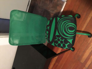 Ikea desk and green chair