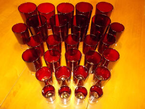 Large lot of 32 Vintage Ruby Red Glasses-Made in France London Ontario image 2