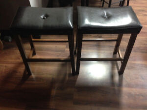Leather and wood barstools