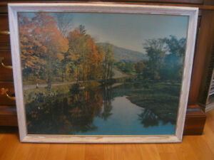 "LG. PLEASANT OLD VINTAGE"" COUNTRYSIDE in AUTUMN"" FRAMED PRINT"