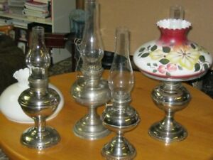 Antique Silver Plated Brass Oil Lamps