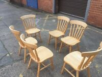 6 X Solid Pine Farmhouse Dining Chairs, Can Deliver