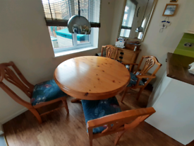 Dining table, solid pine extendable