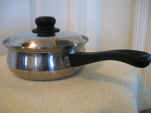 TWO LIKE-NEW REGAL WARE STAINLESS STEEL POTS with COVERS