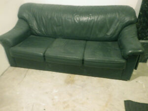 Green Leather Couch / Sofa - high quality, Bauhaus brand