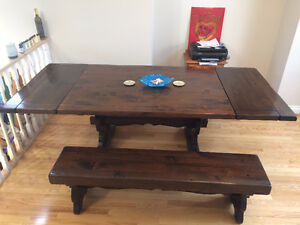 Solid Wood Dining Table & Benches –Great Condition -$1500.00 OBO